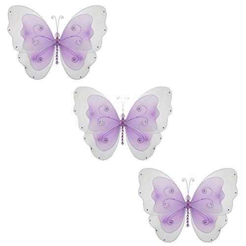 (Sasha Butterfly Mesh/Nylon 3D Hanging Decoration weddings girl's bedroom baby nursery room Birthday Party Craft (small - 5