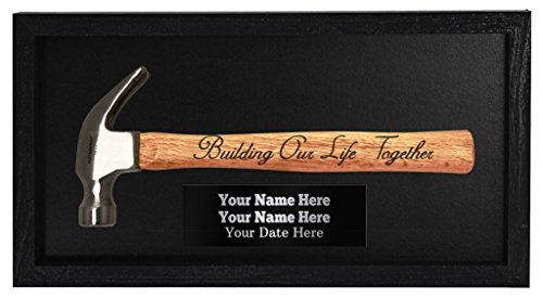 Wedding Gifts Personalized Wedding Gifts Building Our Life Together Bride & Groom Custom Engraved Plaque Wall Art Engraved Hammer in Frame Wooden Display Box (Ideas Wedding Plaque)