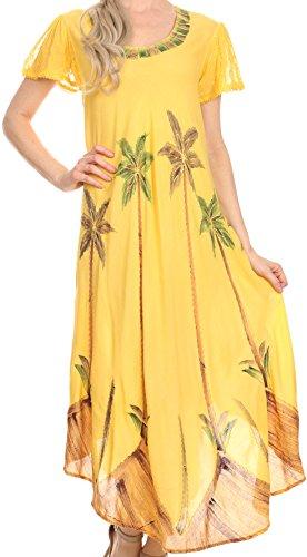 (Sakkas 116 Watercolor Palm Tree Tank Caftan Dress - Yellow/One Size)