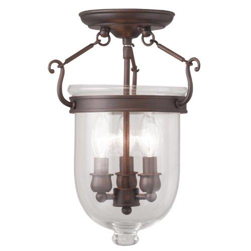Livex Bronze Flush Mount Light Fixture (Livex Lighting 5061-58 Jefferson 3-Light Ceiling Mount, Imperial Bronze)