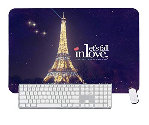 Gaming Mouse Pad Beautiful Eiffel Tower Lights Love Night for Desktop and Laptop 1 Pack 1000x600x3mm/39.4x23.6x1.1 in