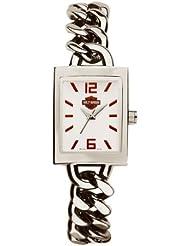 Harley-Davidson Womens Bulova Wrist Watch. White Enamel Dial. Chainlink 76L154