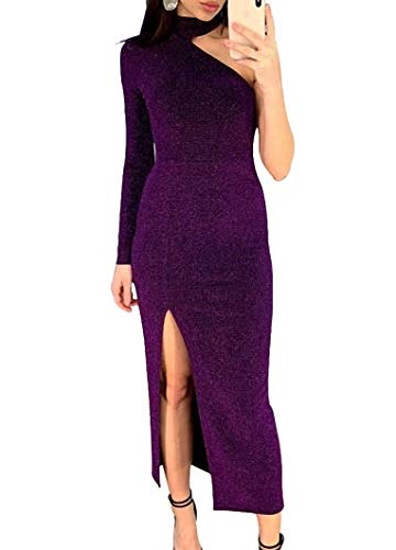 Remelon Women Long Sleeve Shiny Glitter One Shoulder Bodycon Flowy Split Party Maxi Long Dresses Purple XL
