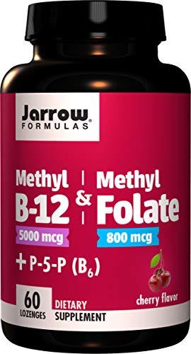Jarrow Formulas Methyl B-12 & Methyl Folate – 60 Chewable Tablets, Cherry – Bioactive Vitamin B12 & B9 – Supports Energy…