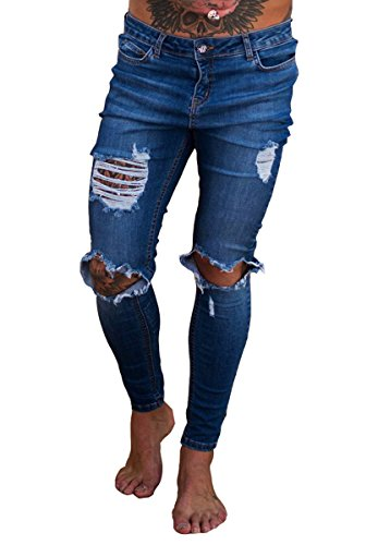 2b7e79f54f7 Sarriben Men's Distressed Skinny Muscle Fit Slim Jeans with Ripped Broken  Knees DB S Dark Blue