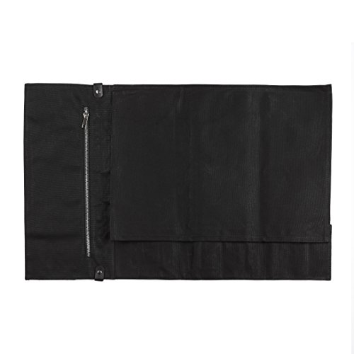 Chef Knife Roll Bag - Handmade Waxed Canvas and Leather Knife Bag Stores 10 Knives + Zipper Pocket and Shoulder Strap (Black) by Becken Leather Co. (Image #2)