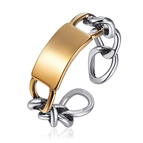 NoFade Vintage Sterling Silver Knuckle Ring Oxidized Ring Open Adjustable Bar Link Chain Ring Band for Women Men
