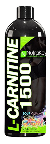 NutraKey L-Carnitine 1500 Liquid Fat Burner, Sour Gummy Worms, 31-Servings