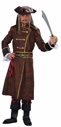 Hidden Treasure Pirate Costumes (Men's Captain John Longfellow Costume, Multicolored, One Size)