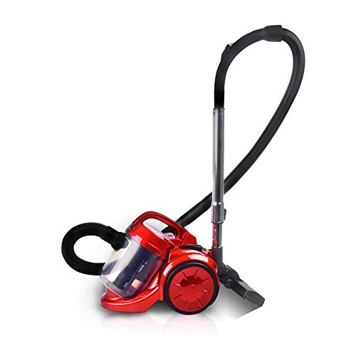 TQZY Compact Bagless Cylinder Vacuum Cleaner with Allergy Filter for Pet Hair, Pollen and Dust Mites, 1400W - Red