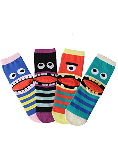 OSABASA Womens Cotton Crew Character Socks 4Pairs 1 Set Pack(KWMS030)