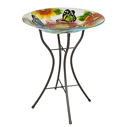 "Glitzhome 24"" H Glass Bird Bath Bowl Fused Butterfly Garden Flower Birdbath with Metal Stand"