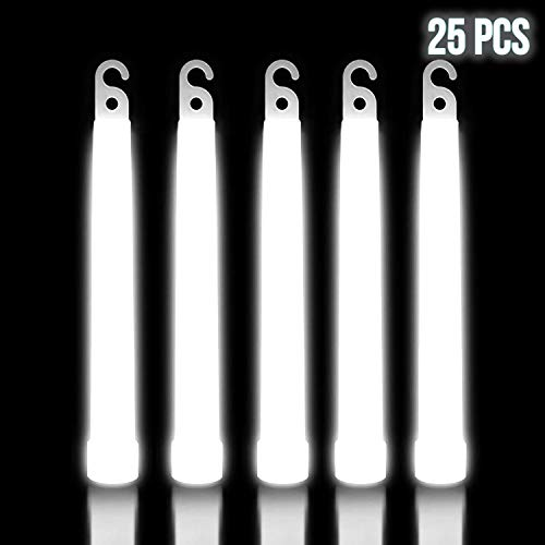 Lumistick 6 Inch Premium Glow Sticks | 15mm Thick Flat Bottom Illuminating Glowing Sticks | Waterproof & Non-Toxic Light Up Neon Sticks with Hook for Camping & Hiking (White, 25 Glow Sticks)