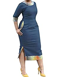 Womens Side Slit Pockets 3/4 Sleeve Bodycon Cocktail Party Prom Denim Dresses