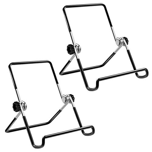 MoKo Foldable Tablet Stand, 2 Pack Adjustable Metal Holder for 9-12.9 Tablet, Compatible with New iPad Air 3rd Gen iPad Pro 10.5/9.7 iPad Pro 11/12.9 2018 Galaxy Tab E 9.6 - Black