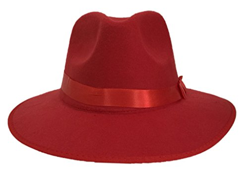 Bigood Unisex Women Imitation Cashmere Large Brim Panama Sun Fedora Hat Red