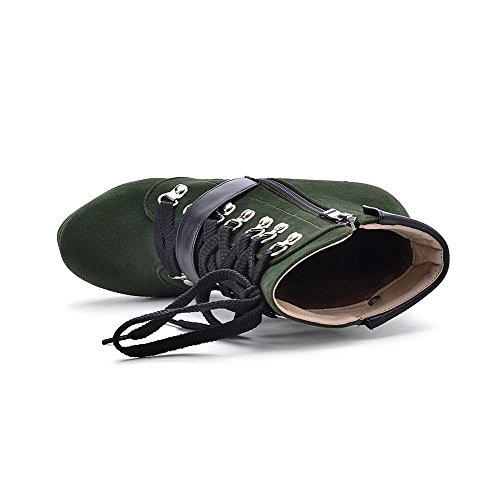 BeanFashion Womens Closed Toe Blend Materials Solid Boots with Adornment Green 8WYe6KyWE2