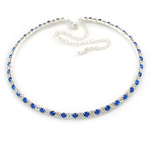 (Thin Sapphire Blue/ Clear Austrian Crystal Choker Necklace In Rhodium Plated Metal - 33cm L/ 16cm Ext)