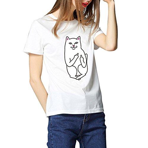 Colore04 Estate stampata da shirt Gatto QQI Gatto Stampato carina Divertente donna Maglietta Tasca Tops Animale shirt T T Donna wAZq8CU