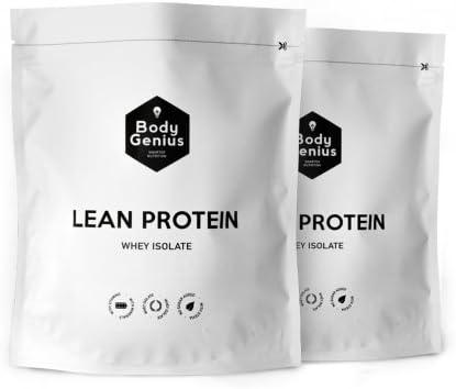 BODY GENIUS Dúo Lean Protein (Dulce Cacao + Vainilla). 2x500g. Whey Isolate. Proteína en Polvo con Stevia. Vitaminas y Minerales. Hecho en España.