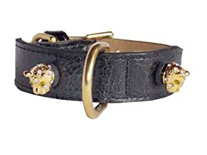 Leopard Head Rivets Tapered Dog Collar, Extra Large Size 17-22,Black