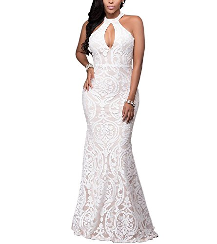 Engood Women's Halter Floral Lace Vintage Wedding Maxi Long Dress Evening Gowns White L -