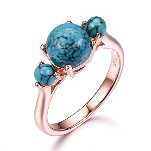 Black Blue Turquoise Engagement Ring 7mm Round 925 Sterling Silver Rose Gold Plated 3 Stones Plain Band by Milejewel Turquoise engagement rings