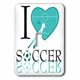 3dRose LLC lsp_101404_1 I Love Soccer In Turquoise Single Toggle Switch