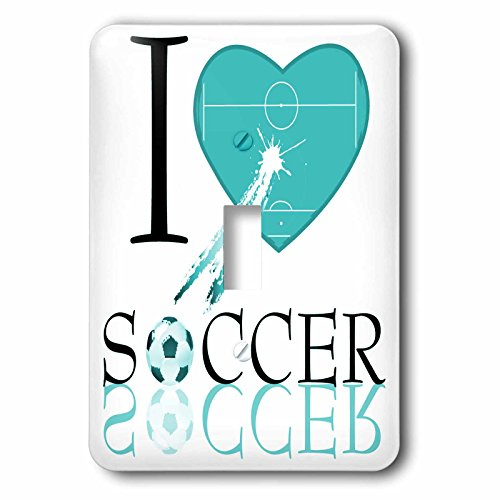 3dRose LLC lsp_101404_1 I Love Soccer In Turquoise Single Toggle Switch by 3dRose