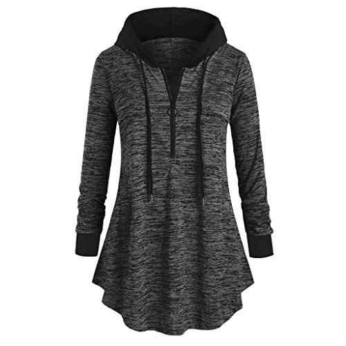 TWGONE Tunic Tops for Leggings for Women Long Sleeve 3/4 Zip Pullover Womens Space Dyeing Hooded T Shirt Blouse(XXXX-Large,Gray)
