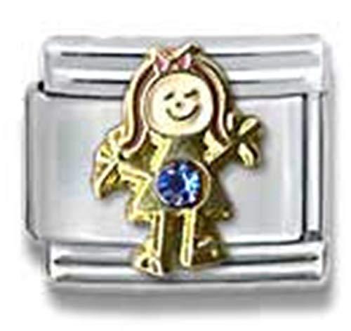 Stylysh Charms Birthstone Birthday Girl CZ Rhinestone 9mm Charm Fits Nomination Classic Child 9mm Birthstone Italian Charm