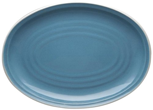 Noritake Colorvara Oval Platter, 16-Inch, Blue (Noritake Stoneware Platter)