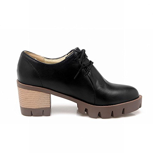 Latasa Femmes Mode Chunky Talons Lacets Oxford Chaussures Noir