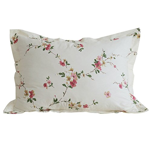 FADFAY Cotton Decorative Pillowcase Shabby Beige Floral Print Pattern Pillow Covers, 2 Pcs(Beige)