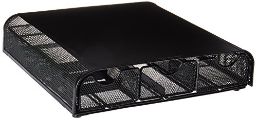 Mind Reader Monmesh-Blk Monitor Stand and Desk Organizer, Black Metal Mesh (Collection Keyboard Tray)