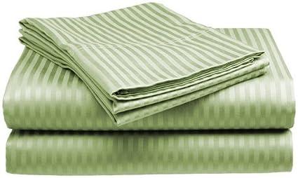 Queen Size 400 Thread Count 100% Cotton Sateen Dobby Stripe Sheet Set -Sage