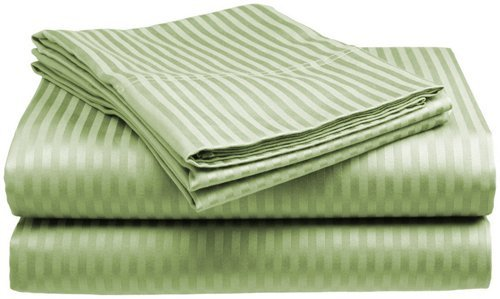 Crystal Trading 4-Piece Bed Sheet Set - Dobby Stripe - 100% Cotton Sateen - 300 Thread Count (Queen, Sage)