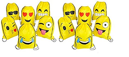 RIN EMOJI Assorted Emoticon Party Favors Drawstring Backpack