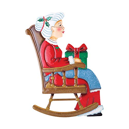 Collections Etc Outdoor Christmas Decoration - Rocking Chair Mr. & Mrs. Santa Claus, Mrs. Claus (Claus Outdoor Decorations Santa)
