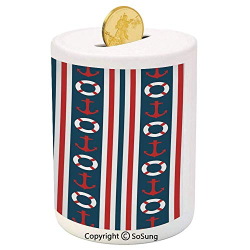 - Nautical Ceramic Piggy Bank,Vertical Borders Stripes Maritime Theme Steering Wheel and Anchor Pattern Decorative 3D Printed Ceramic Coin Bank Money Box for Kids & Adults,Indigo Red White
