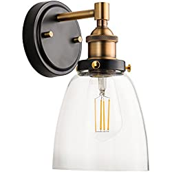 Fiorentino LED Industrial Wall Sconce – Antique Brass w/Clear Glass - Linea di Liara LL-WL582-AB