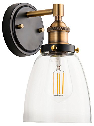 Bathroom Hanging Vanity (Fiorentino LED Industrial Wall Sconce – Antique Brass w/Clear Glass - Linea di Liara LL-WL582-AB)