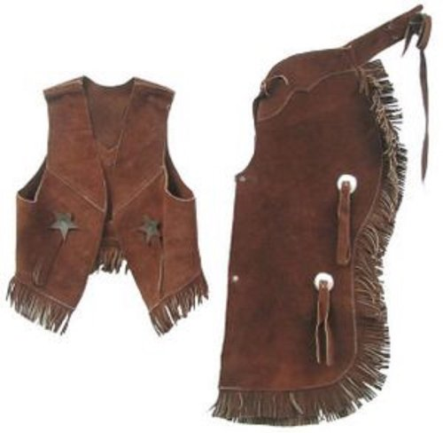 [Childrens Western Vest & Chaps Set-black or Brown Suede Leather, S, M or L (Large7-10Brown)] (Cowboy Outfit)