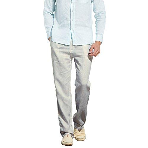 Cotton Linen Pants - Manwan Walk Men's Casual Beach Trousers Elastic Loose Fit Lightweight linen Summer Pants K70 (Medium, Light grey)