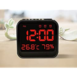 New Digital Alarm clock Time and Temperature Battery&USB Power