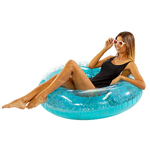 PoolCandy Jumbo 48 BLUE Glitter Swim Ring - Extra Large for The Pool Beach or Lake-Kids Teens Adults-Glitter Inside Sparkles and Shines in the Sun - THE ORIGINAL GLITTER POOL TUBES AND FLOATIES