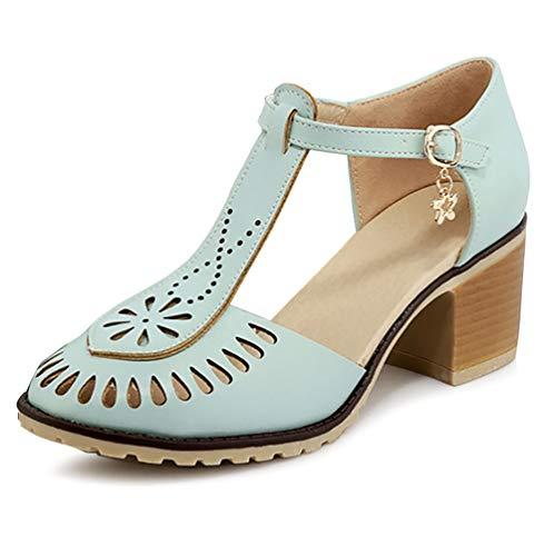 (Catata Women Summer T-Shape Closed Toe Flats Hollow Buckle Sandals Blue)