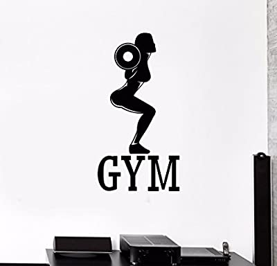 Vinyl Wall Decal Gym Fitness Woman Bodybuilding Sports Girl Stickers (573VS)