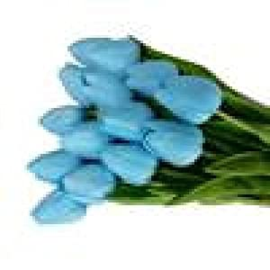 Esharing Artificial Silk Fake Flowers Single Stem PU Touched Tulip Arrangement Bouquet with Glorious Moral for Home Office Wedding Parties,Pack of 10 (blue) 2
