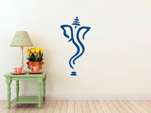 """Abstract Ganesh- Wall Decal (Dark Blue - Matte, Measures: 43"""" (h) x 22"""" (w))"""